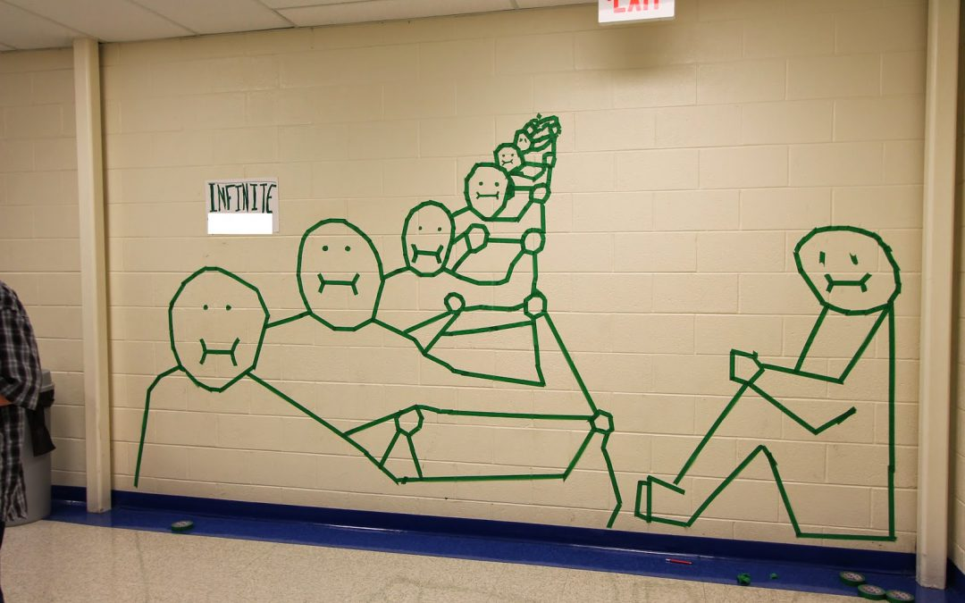 Middle School Masking Tape Art Murals