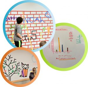colored masking tape classroom art